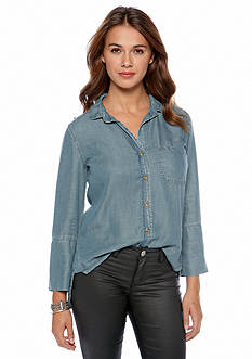 Cloth & Stone Shirt Tail Button Down Top