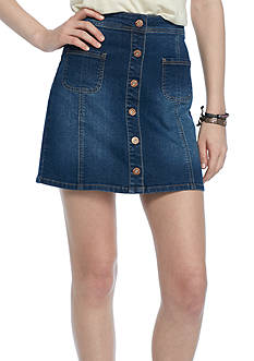Red Camel Button Front Denim Skirt