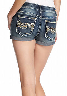 Red Camel Embroidered Pocket Double Roll Jean Shorts