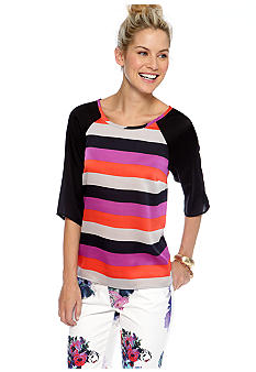CYNTHIA Cynthia Rowley Three Quarter Raglan Sleeve Stripe Top
