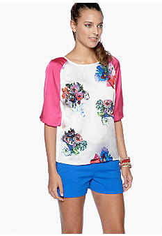 CYNTHIA Cynthia Rowley Three Quarter Sleeve Raglan Blouse