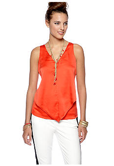 CYNTHIA Cynthia Rowley Solid V-Neck Ruffle Front Sleeveless Woven Top
