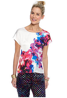 CYNTHIA Cynthia Rowley Scoop Neck Printed Tee