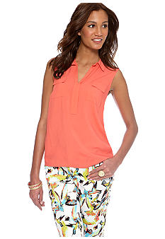 CYNTHIA Cynthia Rowley Woven to Knit Sleeveless Collared Tee