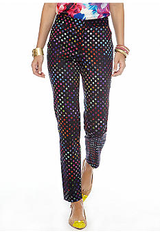 CYNTHIA Cynthia Rowley Rainbow Dot Print Polished Ankle Pants