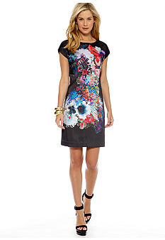 CYNTHIA Cynthia Rowley Floral Printed Short Sleeve Dress