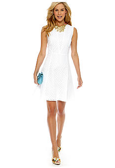 CYNTHIA Cynthia Rowley Seamed Eyelet Dress