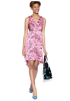 CYNTHIA Cynthia Rowley Surplice Hi-Lo Dress