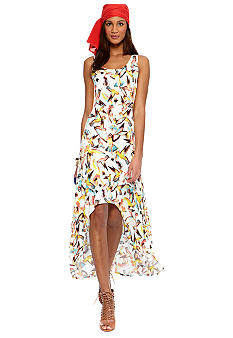 CYNTHIA Cynthia Rowley Hi-Lo Printed Maxi Dress