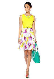 CYNTHIA Cynthia Rowley Printed Cut Out Back Belted Dress
