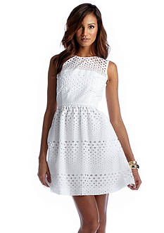 CYNTHIA Cynthia Rowley Sleeveless Fit & Flare Eyelet Dress