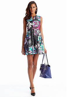 CYNTHIA Cynthia Rowley Sleeveless Split Neck Floral Dress