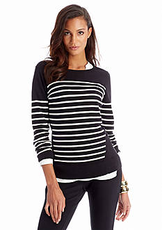CYNTHIA Cynthia Rowley Long Sleeve Pieced Stripe Sweater