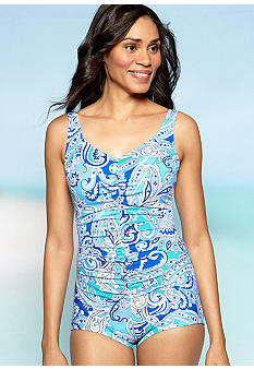Shapesolver Paisley Shirred One Piece Swim Suit