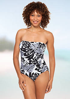 Shapesolver Mixed Palm Bandeau One Piece