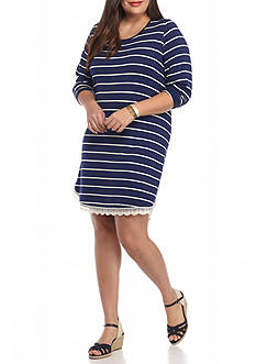 Red Camel Plus Size Stripe Knit Dress