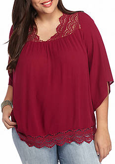 Red Camel Plus Size Crochet Trim Top