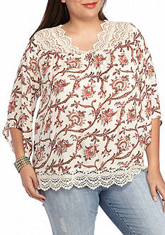 Red Camel Plus Size Printed Crochet Trim Top
