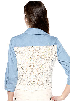 Red Camel Lace Back Tie Front Denim Shirt