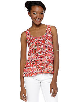 Red Camel Pin Tuck Crochet Back Sleeveless Top