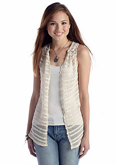 Red Camel® Open Front Crochet Vest Top