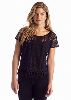 Red Camel® Crochet Fringe Hem Top