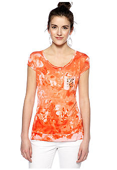 Red Camel Stud Pocket Tie Dye Tee