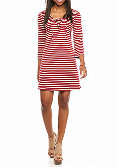 Red Camel Lace up Striped Dress