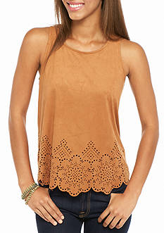 Red Camel Faux Suede Scallop Perforated Tank