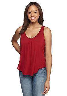 Red Camel Knit Embroidered Bar Back Tank