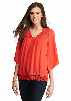 Red Camel Crochet Yoke V neck Blouse