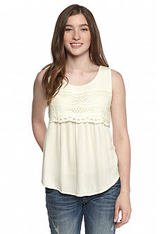 Red Camel Sleeveless Eyelet Lace Top