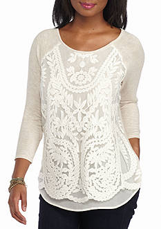 Red Camel Lace Front Sleeve Tee