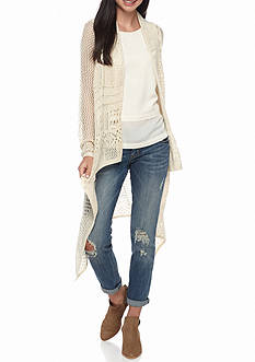 Red Camel Pointelle Hi Low Cardigan