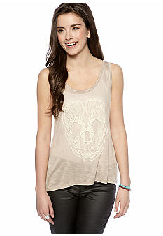 Grass Sleeveless Crochet Skull Tank Top