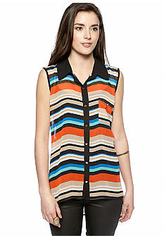 Grass Sleeveless Stripe Button Front Shirt