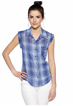 Grass Sleeveless Plaid Shirt