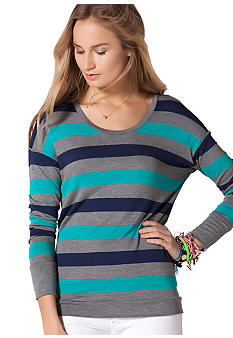C&C California Button Back Stripe Knit Top