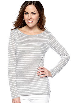 C&C California Long Sleeve Boatneck Stripe Knit Tunic