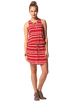 C&C California Split Neck Stripe Tank Dress