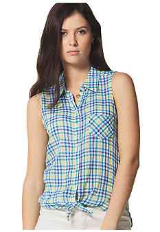C&C California Mini Check Tie Front Shirt