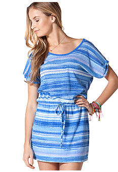 C&C California Stripe Roll Sleeve Drawstring Waist Jersey Dress