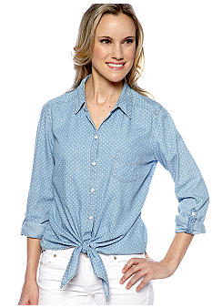 C&C California Polka Dot Chambray Tie Front Shirt