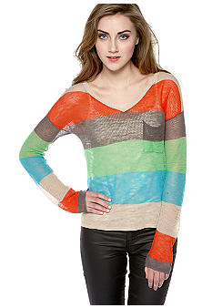 C&C California Stripe V-Neck Boxy Sweater