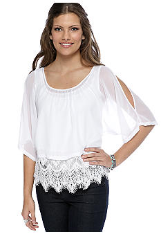 Chord Lace Bottom Cold Shoulder Top
