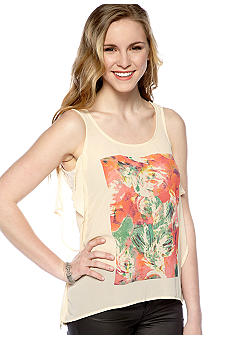 Chord Sleeveless Screen Ruffle Tank