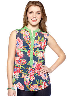 Chord Sleeveless Floral Shirt with Pleats