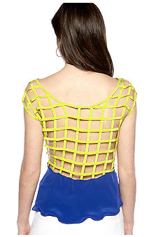 Chord Peplum Tank With Lattice Detail