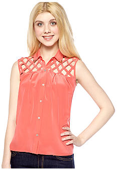 Chord Sleeveless Lattice Shoulder Top