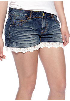 Chord Lace Trim Jean Shorts